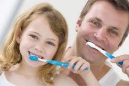 parents displaying great brushing habits will influence their children with good brushing habits
