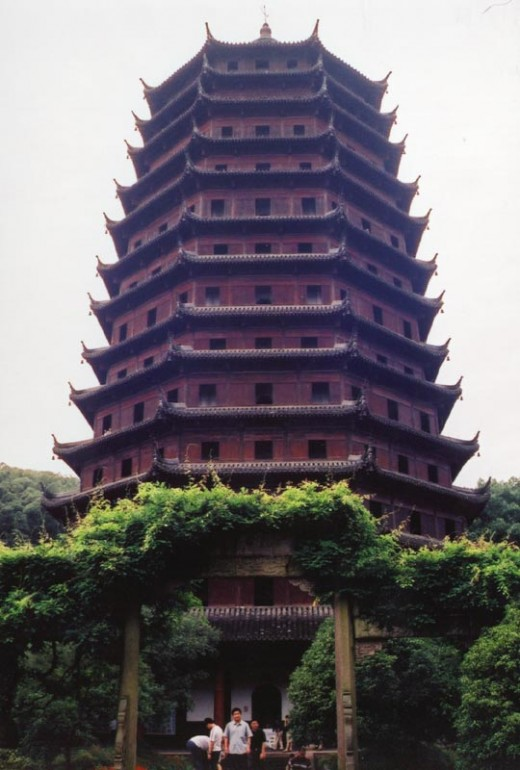 The Liuhe Pagoda of Hangzhou, built in 1165 during the Chinese Song Dynasty.