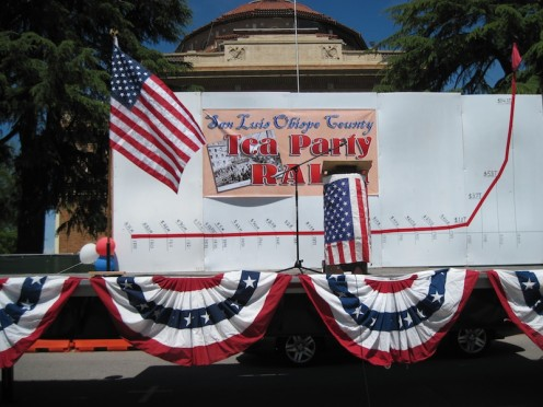 Speakers' Platform at Atascadero Tea Party with Deficit Chart in Background