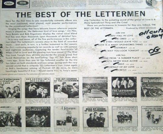 The Best of The Lettermen (1966) (Photo by Travel Man)