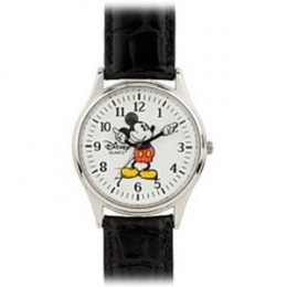 Mickey Mouse Mens Watch - Chrome & Black Leather