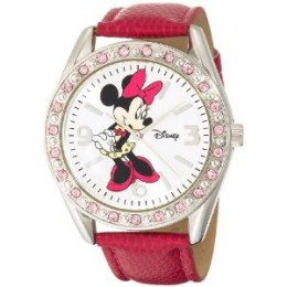 Disney Women's MN1010 Minnie Mouse Silver Sunray Dial Pink Lizard Watch