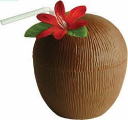 THIS PLASTIC COCONUT COULD EVEN MAKE TAP WATER SEEM SPECIAL!  OF COURSE YOU COULD ALWAYS FILL IT WITH HAWAIIAN PUNCH!