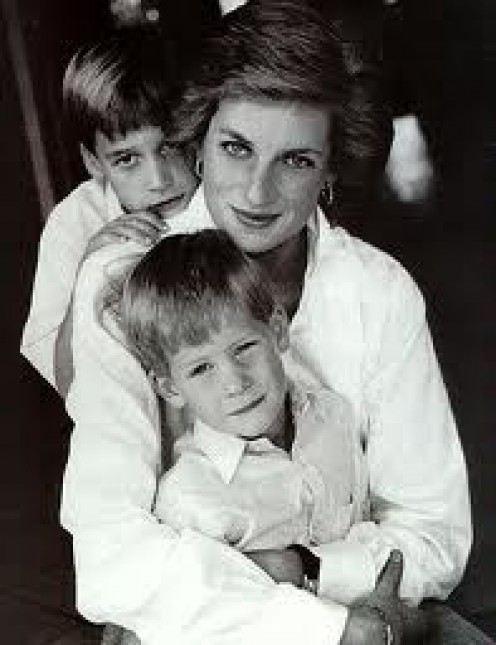 Prince William and Prince Harry with their mother, the late Princess Diana