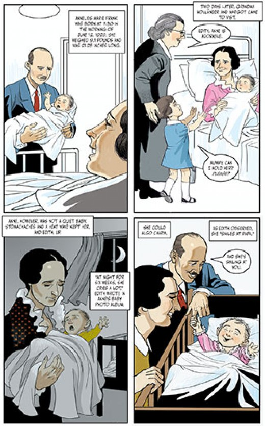 a page from the book that depicts Anne Franks birth and early years.