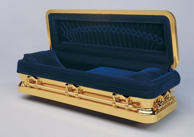 This coffin for Michael Jackson cost a record $25,000 to make.  Made of bronze and 14kt gold, Michael Jackson was laid to rest on Sept. 3, 09.