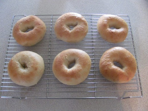 Fresh Baked Bagels cooling on rack