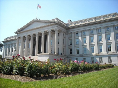 The main U.S. Treasury Building, Washington, D.C.