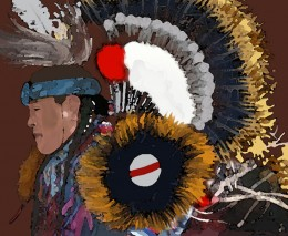 Native American in a Dance for Peace - Painted in PhotoShop from a snapsot of a YouTube presentation.