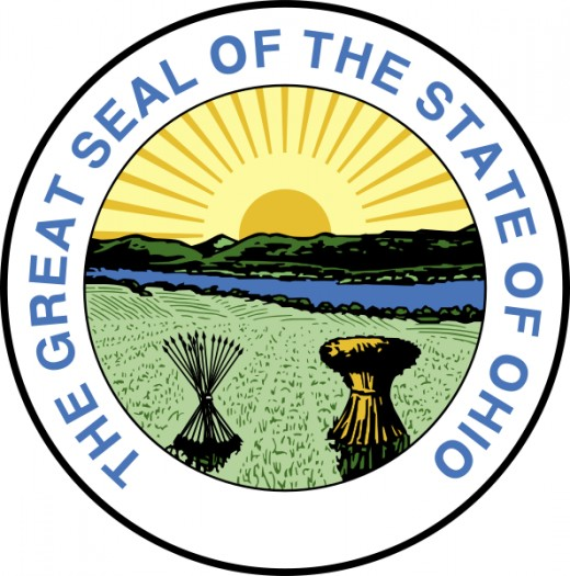 In the foreground are a sheaf of 17 arrows and a sheaf of wheat. In 1803, Ohio was the 17th State admitted to the Union.