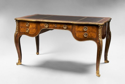 Early 20th C. Louis XV Bronze Mounted Bureau Plat