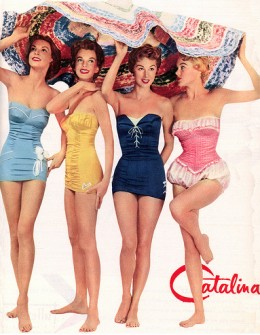Vintage Bathing Suits. Now these bathing suits pulled you in and pushed you out in all the right places!