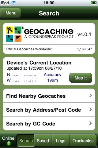 Geocaching app for your iPhone