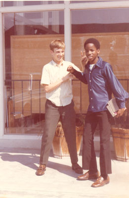 After Sunday School -- Some Friendly Teasing in the Parking Lot of Crenshaw Christian Reformed Church, Los Angeles, around 1970