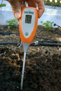Meter reads 7 before being inserted into the soil
