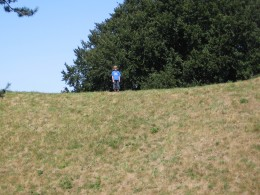 Standing on the edge of the earthworks.