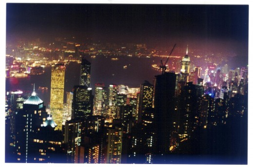 Hong Kong by Night from Victoria Peak view