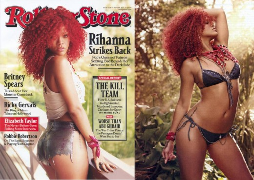 The 2011 Rolling Stone cover and section that sees scantily clad Rihanna being pictured