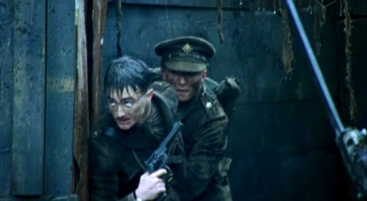 Daniel Radcliffe playing Jack Kipling in the TV drama 'My Boy Jack' using a Webely MK VI revolver