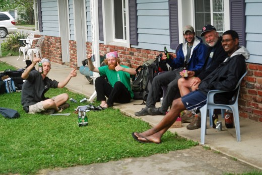 Hikers taking it easy in motel