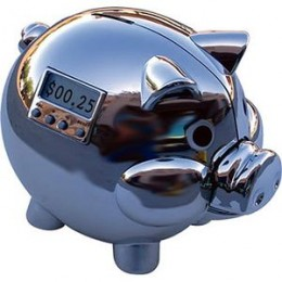 shiny piggy bank in the form of a pig