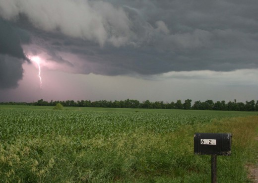 Wall cloud over the field just across the street from our animal sanctuary farm