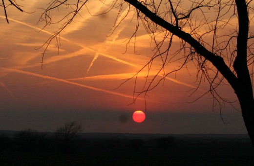 Jet contrails in the sunset