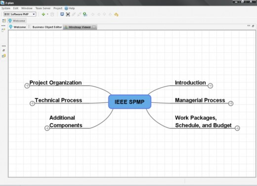 Sample radial diagram using the IEEE software project management plan standard.