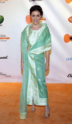 Alyssa Milano in a sari