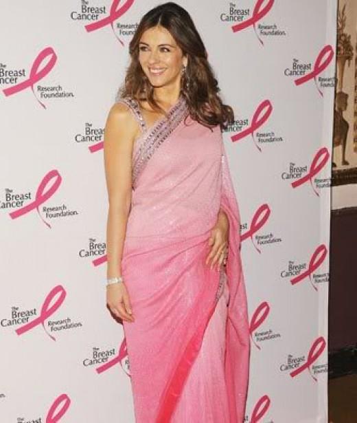 Liz Hurley in a sari