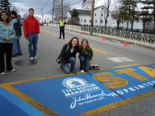 At the starting line for the Boston Marathon