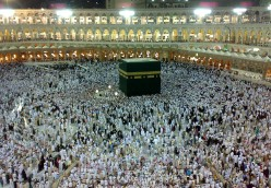 Muslims satisfying their religious obligation to vistit Mecca