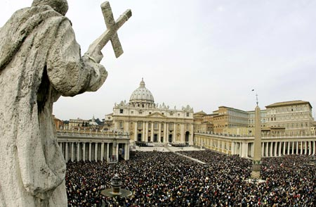 Catholics gather in St. Peter's Square to hear the Pope speak