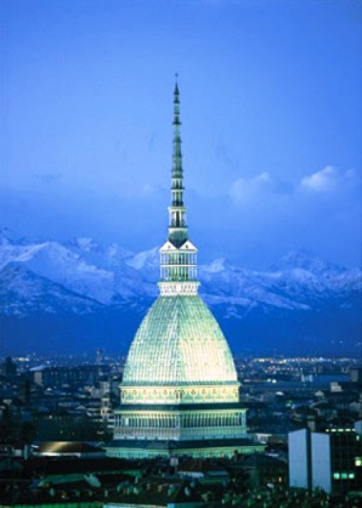 The Mole Antonelliana which houses the Cinema Museum towers over the city. On top is an observation deck.