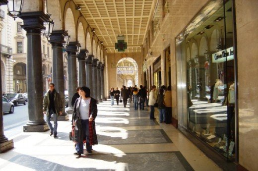 The arcaded shopping promenades are notable for their lively beauty
