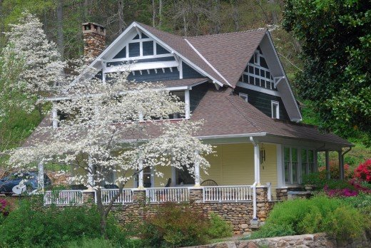 One of several beautiful houses that overlook the French Broad River.