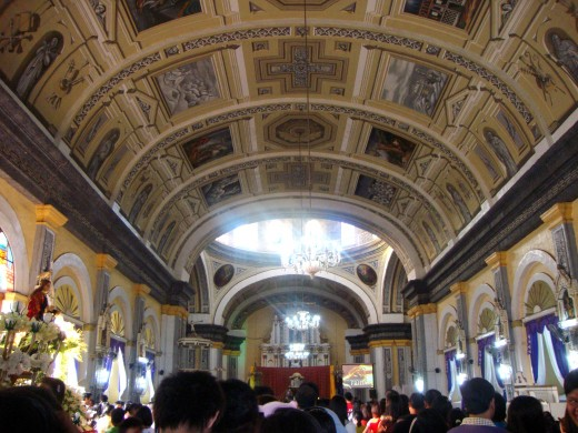 Inside the parish church in my hometown Apalit, Pampanga. In this photo, the people fall in line to kiss Jesus Christ