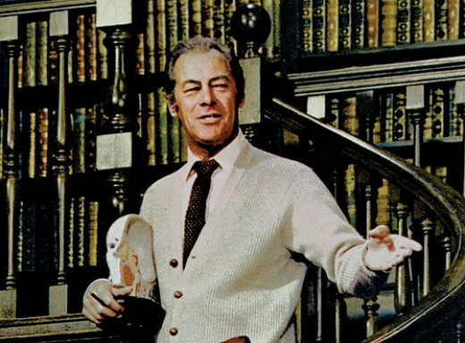 "Rex Harrison as Henry Higgins in the Sound of Music sang ""The cold blooded murder of the English tongue"""