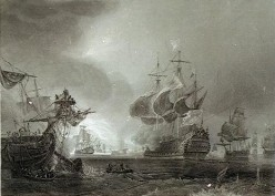 Battle of Beachy Head, 1690, engraving by Theodore Gudin