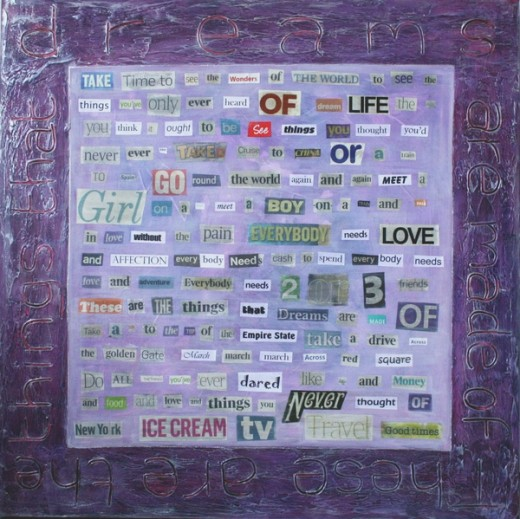 This collage painting (sold) is mainly made up of newspaper cuttings to spell out the words of a song.