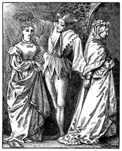 A jester crowns the new year as a young woman, and ushers out the old year, an old woman. This picture was made for the end of 1866 and the start of 1867