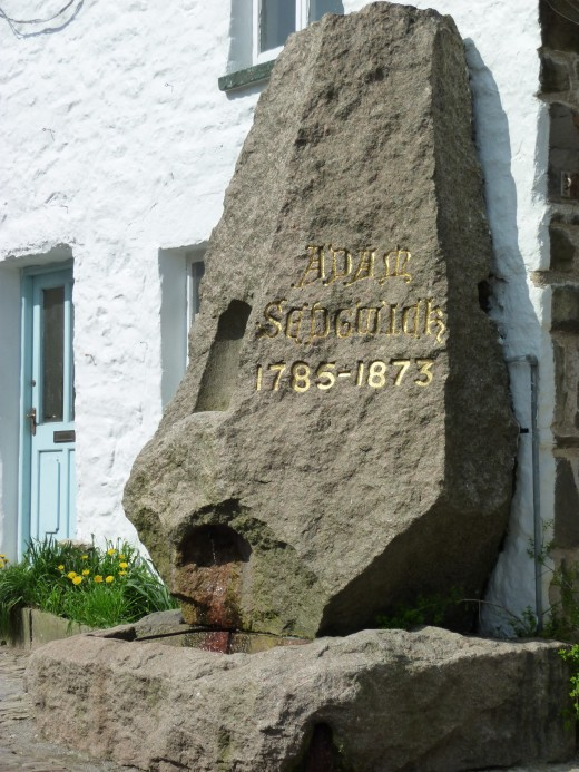 This granite memorial to Adam Sedgwick, famous son of the village and Britain's leading expert on geology in 1818, took a team of eight horses to drag into place.