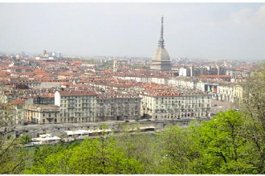 view of Torino, Mole Antoinettana, from Monte dei Capuccini