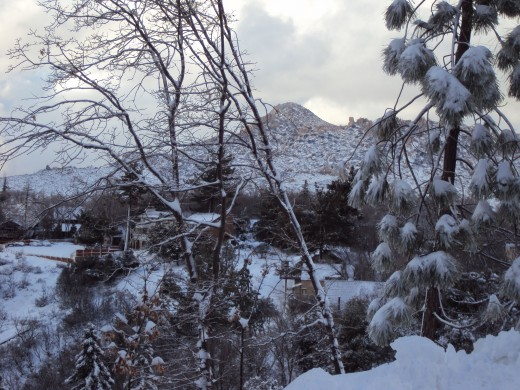 A picture of The Pinnacles dusted with snow.