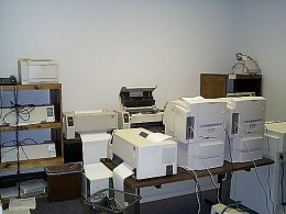 Extreme collections of computer printers process coupons day and night.