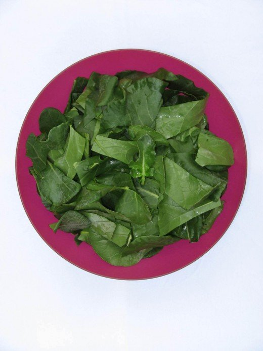 Image B - Prepare broccoli greens just as you would prepare collard greens: wash thoroughly, rinse thoroughly and chop appropriately.