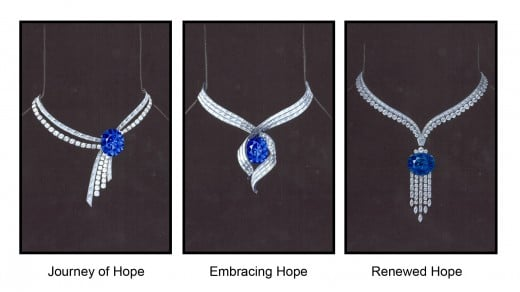 Three design choices for the Hope diamond setting