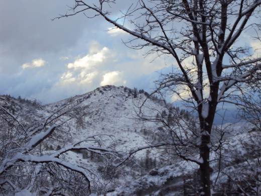 The view of Hesperia with snow in the San Bernardino Mountains.