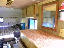 New plywood counter tops and wall paneling complete the renovation of the motorhome.