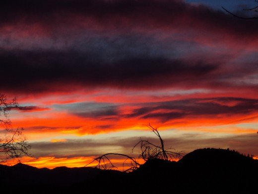 Pink and orange colors in the sunset of the San Bernardino Mountains.